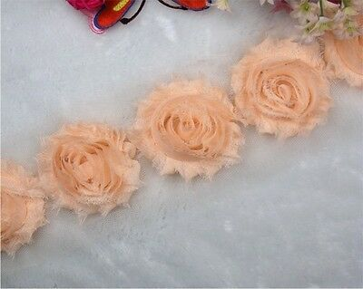 1 yard Frayed Shabby Rose Chiffon Flowers for Headbands, Hair Clips Trim #17