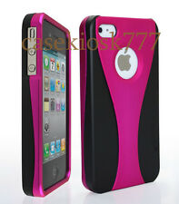 FOR IPHONE 4 4S CASE RUBBER IZED HOT PINK BLACK HARD + FILM//