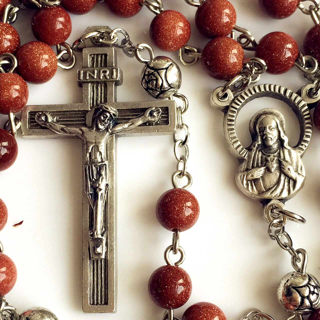 Catholic Crucifix Necklace: GOLD JADE BEADS BEAD ROSARY CROSS /MEDAL/ NECKLACE