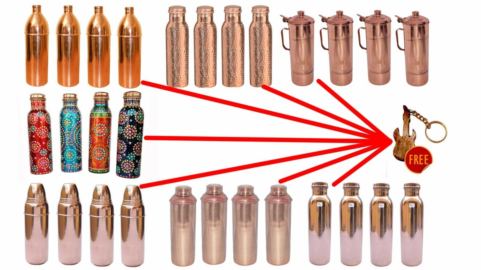 SET OF 4 PURE COPPER WATER BOTTLE GOOD FOR HEALTH SCHOOL,TRAVELING,SPORTS,HOME