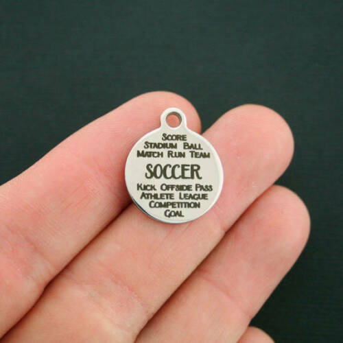 Word Collage Quantity Options Soccer Stainless Steel Charms BFS1455