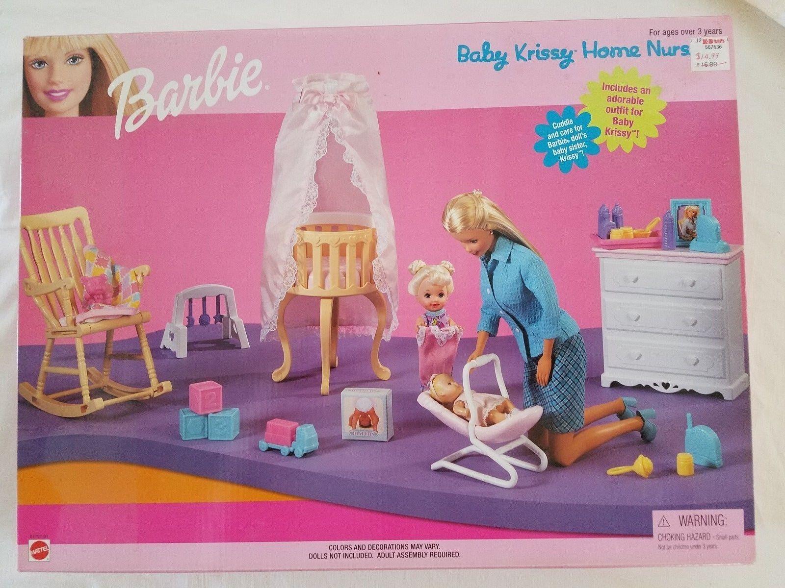 Baby Krissy Casa Vivero 1999 Kelly Barbie Mattel Conjunto de Juego nunca quitado de la Caja Nuevo En Caja 67791 91