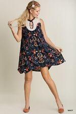 New Navy UMGEE Lace FLORAL Print Sleeveless SUN Boho Hippie Shift SWING Dress L