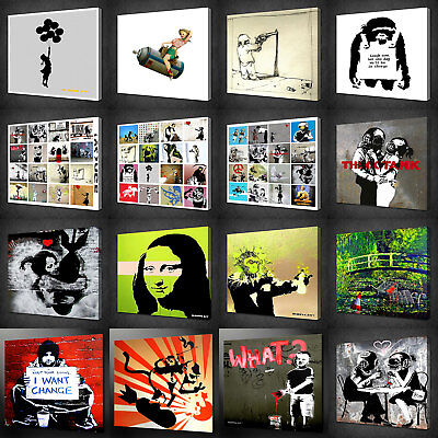 BANKSY CANVAS PICTURE PRINT GRAFFITI WALL ART HOME DECOR FREE FAST DELIVERY