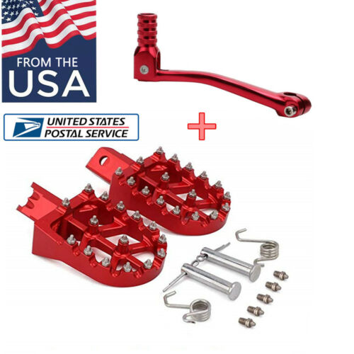 1 Pair RED FootPegs /& 1Pcs Folding Gear Shifter Lever for Universal Motorcycle