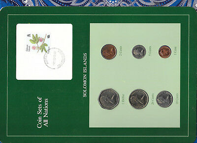 Coin Sets Of All Nations Solomon Islands W/card Unc 1977-1987 2,10 Cent Fm u Australia & Oceania South Pacific