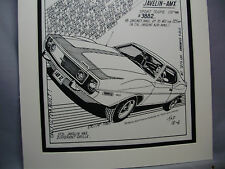 1972 Javelin AMX  Auto Pen Ink Hand Drawn  Poster Automotive Museum