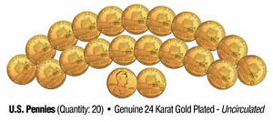 Lot-of-20-LINCOLN-BICENTENNIAL-2009-Pennies-UNC-Coins-24K-Gold-Plated-PRESIDENCY
