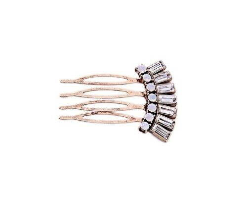 Stunning vintage gold white crystal bridal hair pin comb accessories