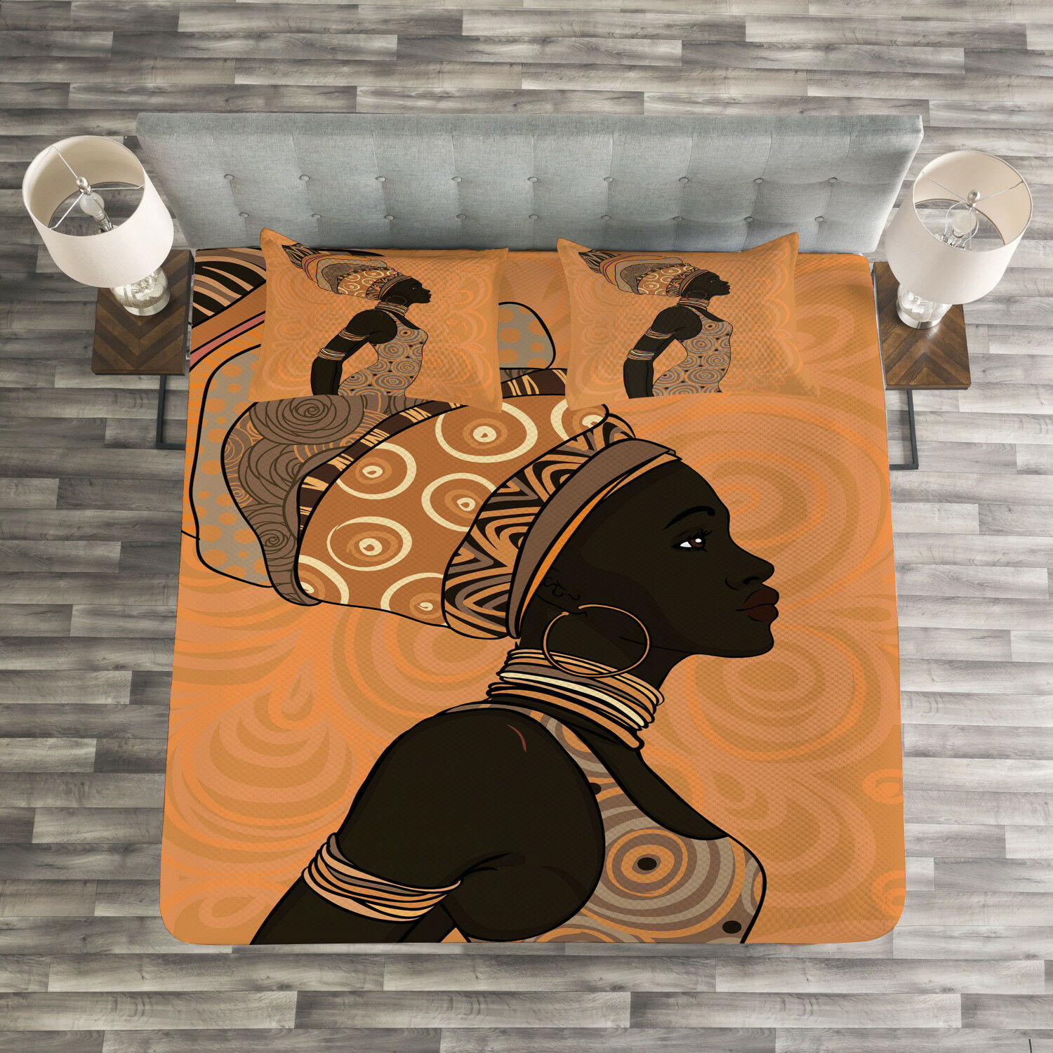 African femme courtepointeed litspread & PilFaible Shams Set, Africa Local femme impression