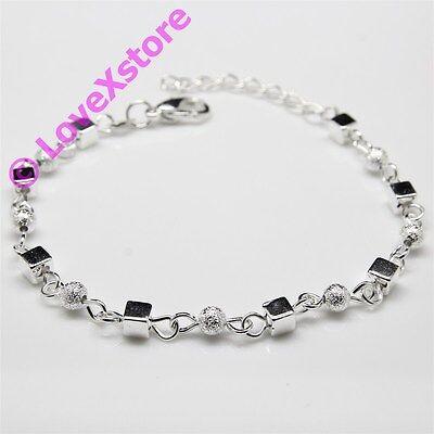 925 Sterling Silver Plated Frost & Cube Chain Bracelet Fashion Bangle Bracelets