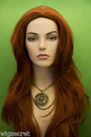 Red Long Straight Skin Top Wigs