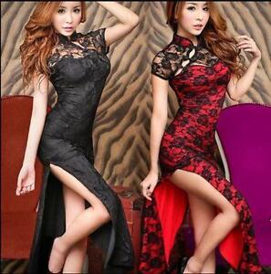 Sexy-Chinese-Retro-Womens-QiPao-Hollow-Lace-Dress-Cheongsam-Slim-Evening-Dress