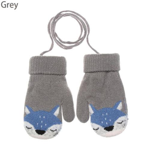 Cute Cartoon Fox Baby Gloves Winter Knit Wool Newborn Mittens Velvet Thick