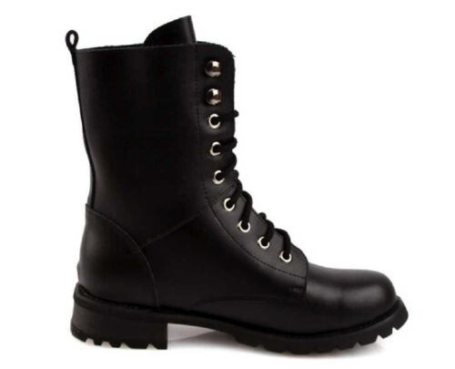 Military Women/'s Retro Black Leather Solid Combat Ankle Boots Shoes US Size 5-11