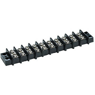 10 Gang Screw Terminal Block with Nickel Plated Brass Contacts for Boats