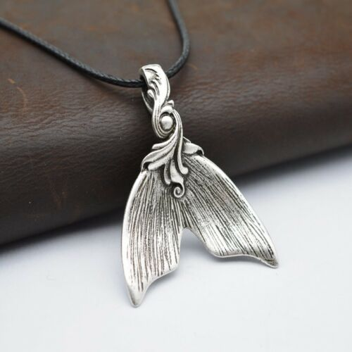 Large Spoon Mermaid Tail Pendant Necklace For Women Whale Tail Jewelry Spoon