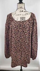 Ava & Viv Womens Black Floral Long Sleeve Tunic Scoop Neck Blouse Top Size 4X