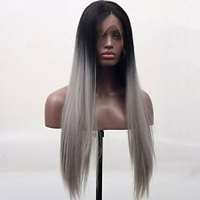 Arimika Silk Straight Long Black Root Silver Grey Ombre Synthetic Hair Lace Wigs