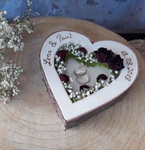 Hochzeit Ringkissen Ringhalter Herz Mille Fleurs dunkelrot mit Namen