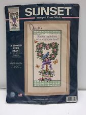 Sunset Stamped Cross Stitch Kit Song in Your Heart Bird Floral 8x16in 13131 NIP