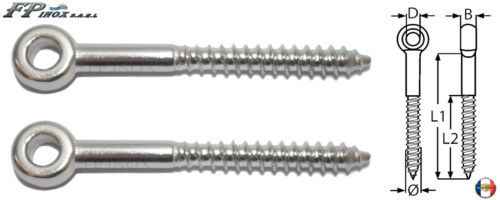inox 316 Lot de 2 A4 Longueur 120mm Anneaux tige filetée BOIS 12mm