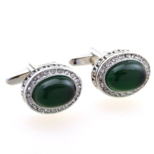 Vintage Dark Green Stone Oval Cufflinks Men/'s Wedding Groom Shirt Cufflinks