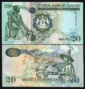 LESOTHO-20-MALOTI-P16-1999-CATTLE-HORSE-UNC-ANIMAL-AFRICA-CURRENCY-MONEY-NOTE