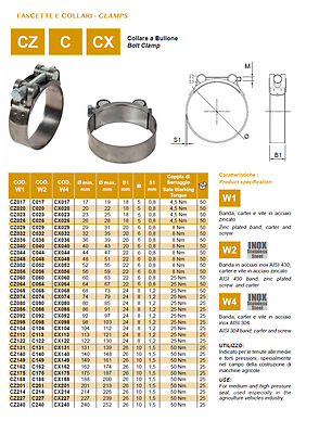 Worm drive hose clamp band 9mm choose hose diameter upto 100, type, pack ,Italy
