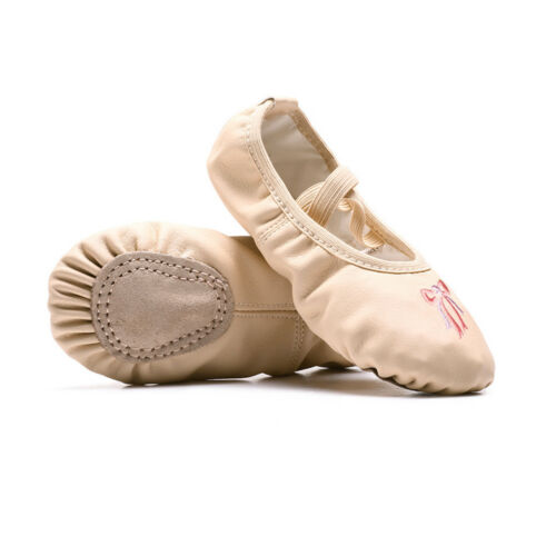 Kids Girls Canvas Leather Ballet Pointe Dance Shoes Fitness Gymnastics Slippers