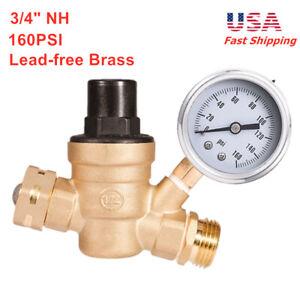 Details about HD 160psi Water Pressure Gauge Regulator Adjust Reducer 3/4