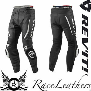 rev-it-GTR-Negro-Blanco-Top-Verano-Cuero-Moto-Pantalones