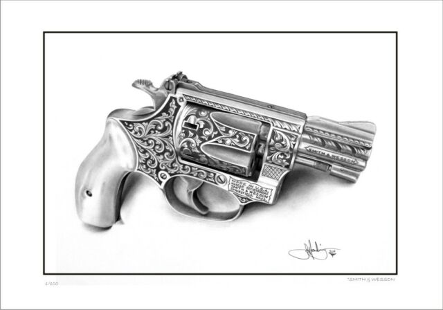 SMITH & WESSON 38 CALIBRE SNUB NOSE REVOLVER LIMITED EDITION PRINT