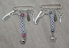 Personalised Dog Groomer Bag / Key Charm/ Grooming Tunic Name Badge Brooch Gift