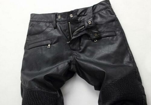 Mens pu Leather Punk Rock Motorcycle Slim Pant Military Trousers Black Pants B23