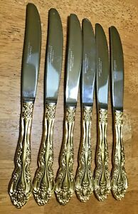 Reed-amp-Barton-Select-Rose-Gold-Electroplate-Stainless-Flatware-Knives-Lot-of-6