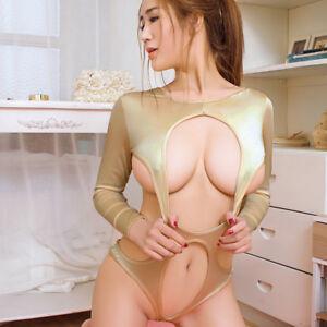 Women/'s Sheer Long Sleeve Bodysuit High Cut Leotard Open Bust Lingerie Nightwear
