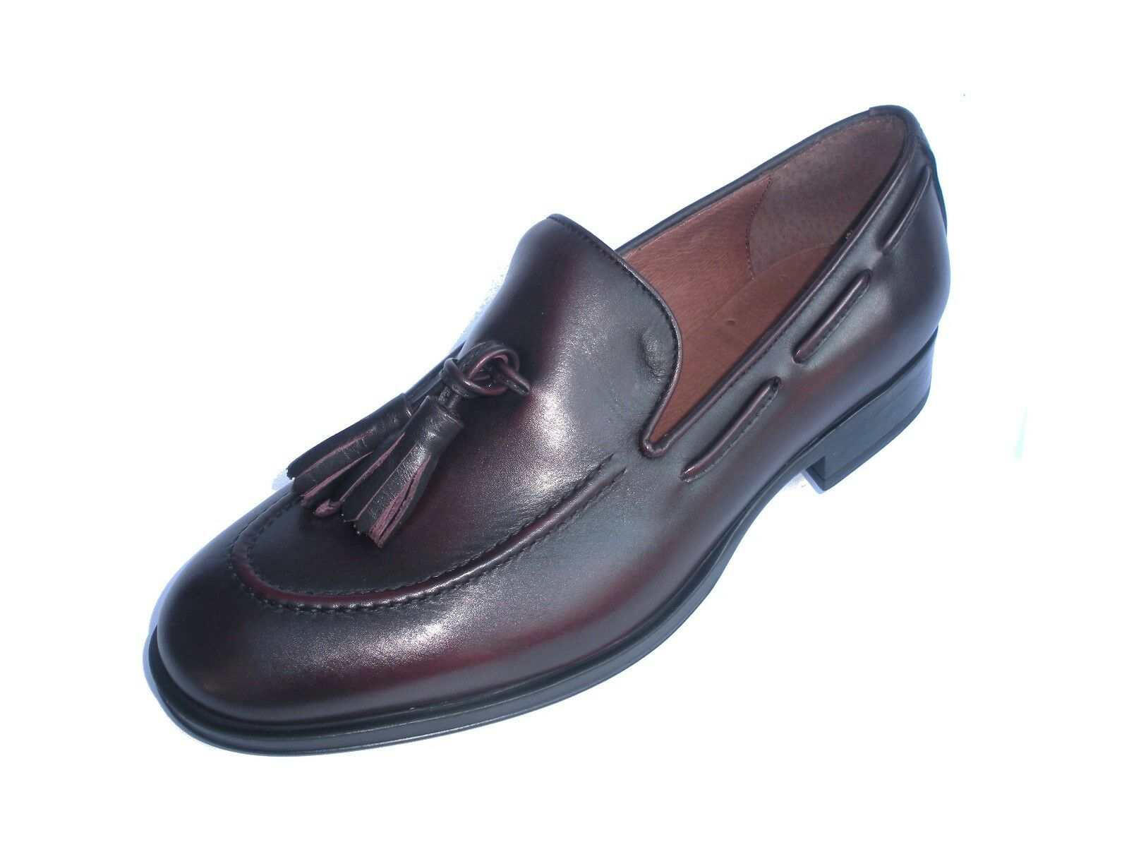 FRAU hommes MOCASSINO PELLE CON NAPPINE 77T6 CouleurE BURGUNDY MADE IN ITALY chaussures