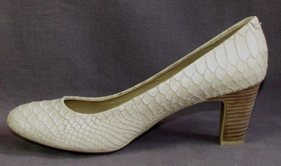 GEOX Escarpins tout talons 6.5 cm tout Escarpins cuir crème aspect croco 39 EXCELLENT ETAT 641078