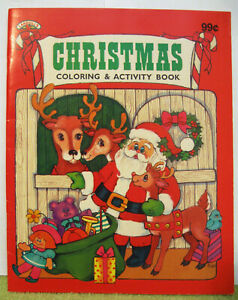 Details about SANTA CLAUS Vintage COLORING BOOK Christmas RUDOLPH Reindeer  ELVES CUTE COVER