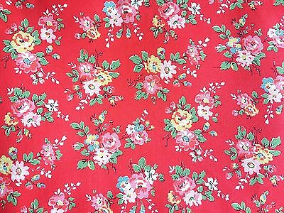 Cotton Canvas floral print fabric by the Half metre Pink Yellow Blue