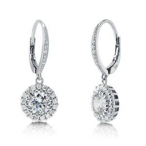 BERRICLE-Sterling-Silver-Round-CZ-Halo-Leverback-Anniversary-Wedding-Earrings