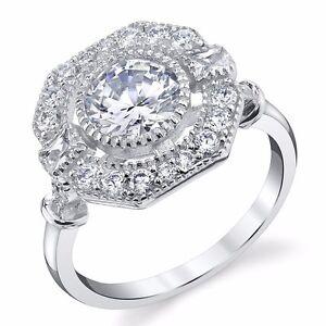 Antique-Estate-Halo-Sterling-CZ-Engagement-Wedding-Ring-Platinum-White-Vintage