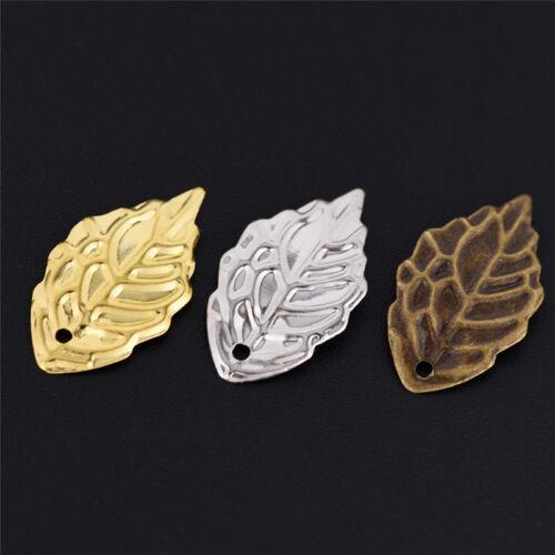 Mode 50 Stück Blätter filigrane Metall Handwerk Schmuck DIY Zubehör AnhängeCBL