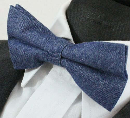 Cotton Premium Quality Bow Tie Pre-Tied Dark Denim Blue BV26