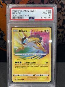PSA 10 GEM MINT Pokemon Vivid Voltage Amazing Rare Raikou 50/185