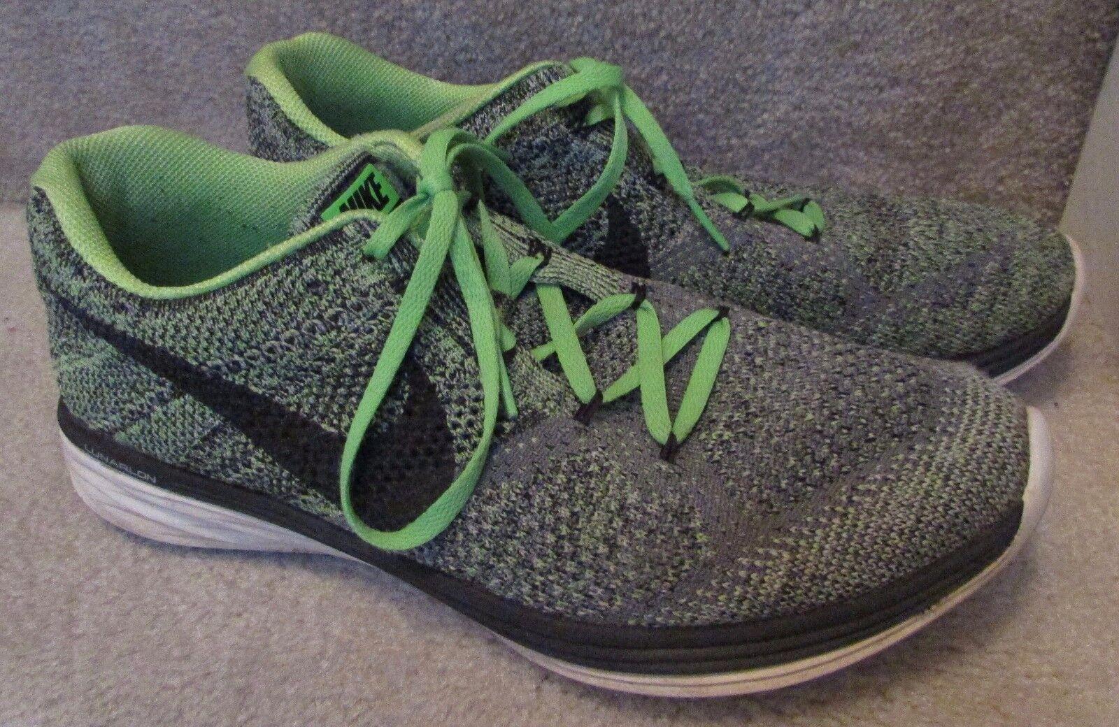 Nike Flyknit Lunar 3 Mens Running shoes Size 11.5 Green 698181-013