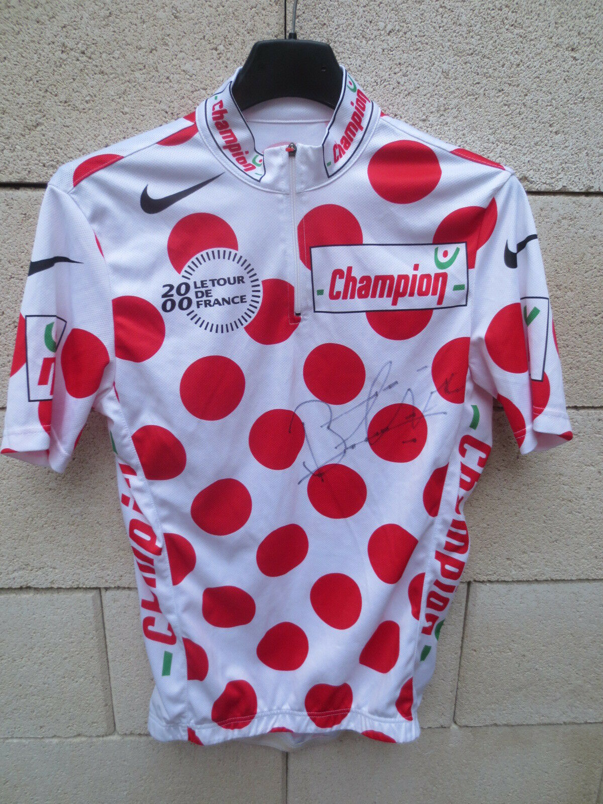 Cycling polka dot jersey tour de france 2000 autographed  botero throwdown shirt s  sale with high discount
