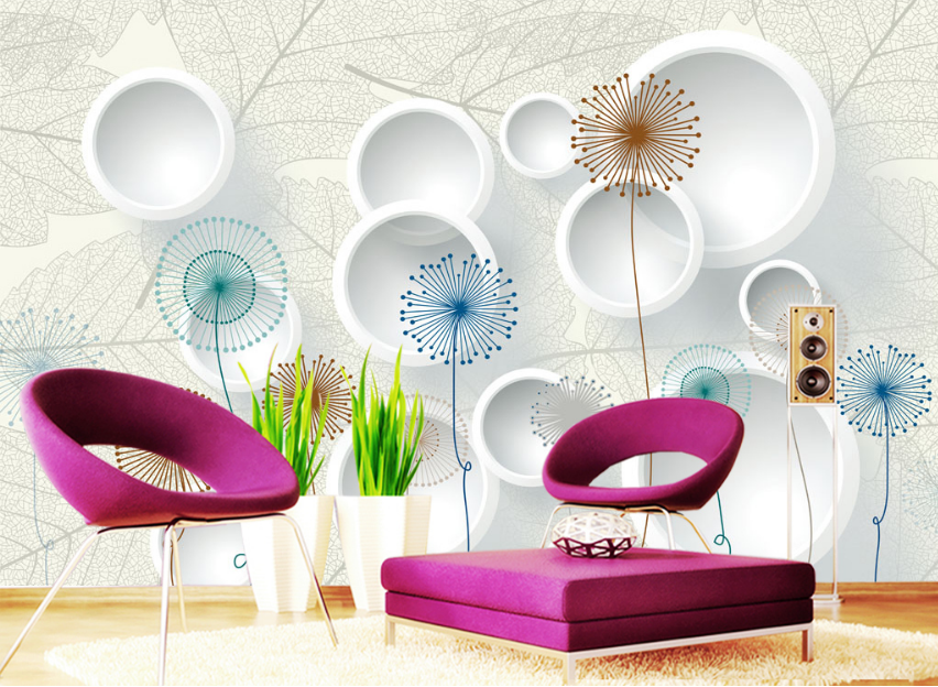 3D Farbe Graffiti Dandelion Paper Wall Print Wall Decal Wall Deco Indoor Murals