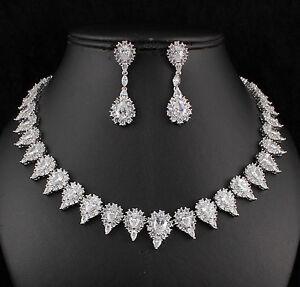 Drop-Halo-CZ-Cubic-Zirconia-Crystal-Necklace-Earrings-Set-Wedding-Party-CZ899